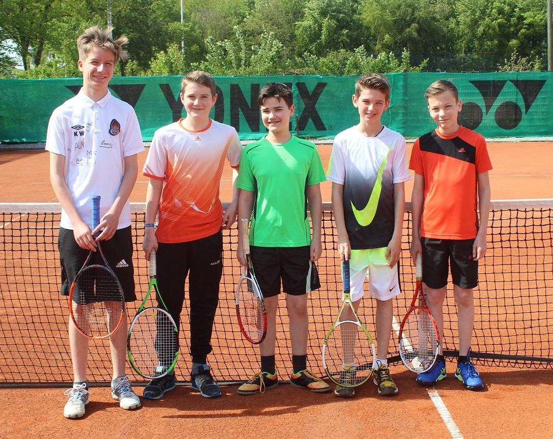 Knaben U 14 vom TC Post-Sportverein Erkelenz v.l.n.r.: Finn Junker, Aaron Becker, Moritz Schmidt, Joshua Gormanns, Luke Frenken